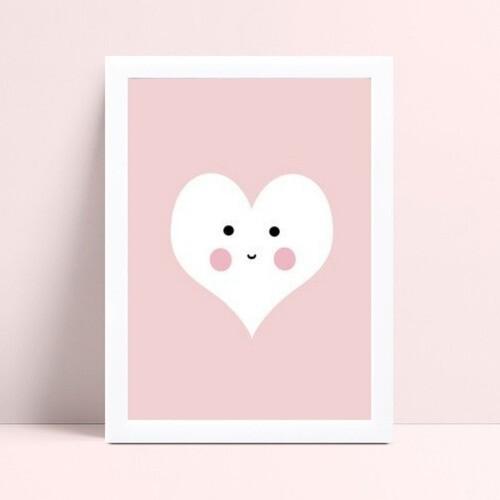 quadro quadro infantil menina rosa coração branco