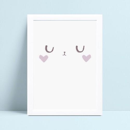quadro quadro infantil menina rosto coração