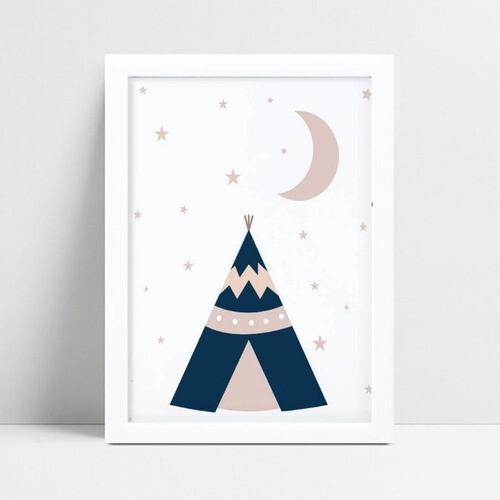 Quadro Quadro Infantil Menina tenda de índio estrelas e lua