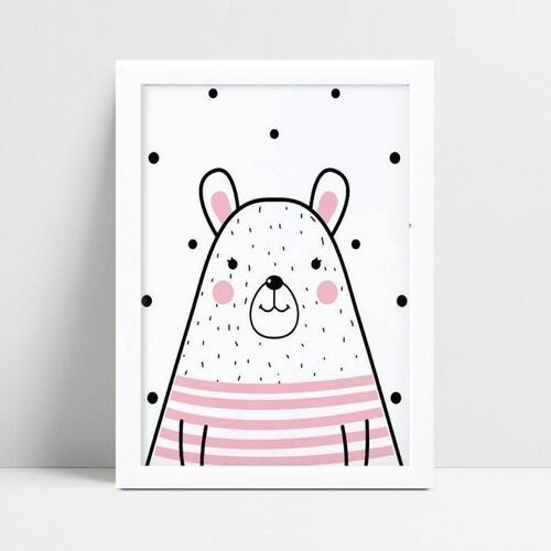 Quadro Quadro Infantil Menina urso preto & rosa
