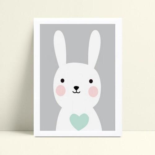 Quadro Quadro Infantil Menino coelho branco e azul