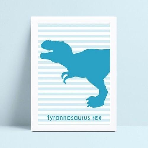 Quadro Quadro Infantil Menino dinossauro azul