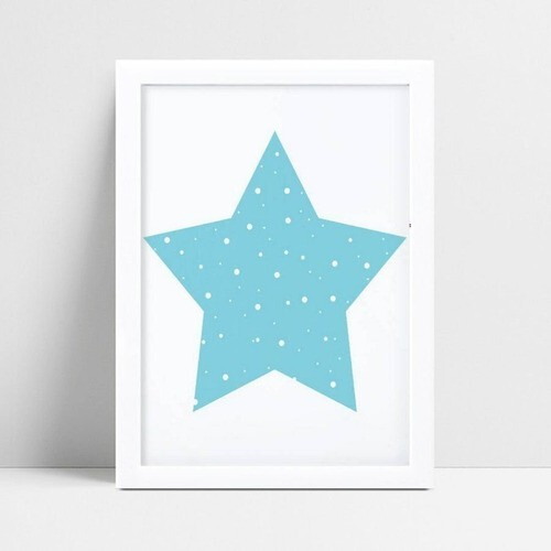 Quadro Quadro Infantil Menino estrela azul e branco