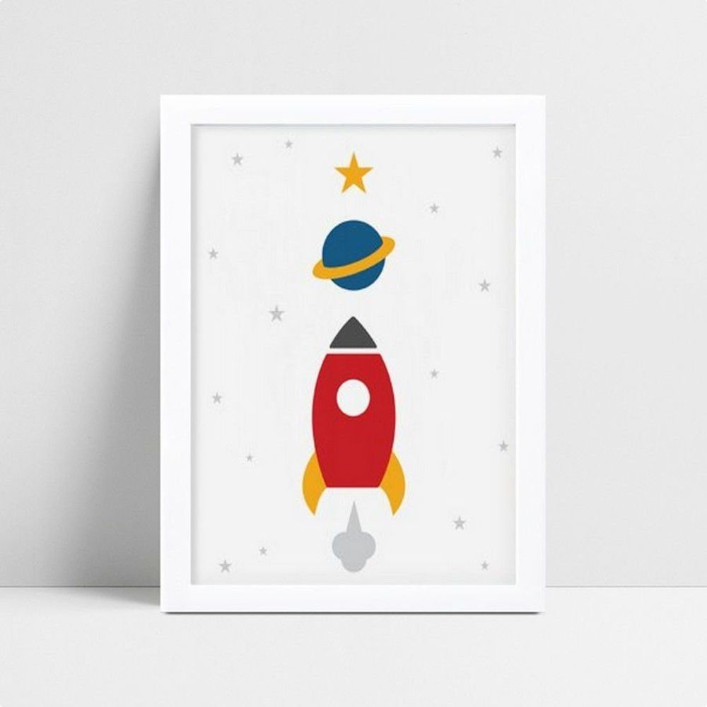 Quadro Quadro Infantil Menino foguete estrelas planeta