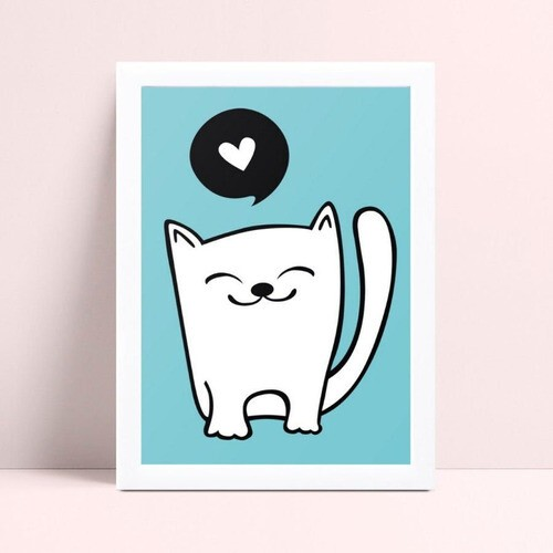 Quadro Quadro Infantil Menino gato branco