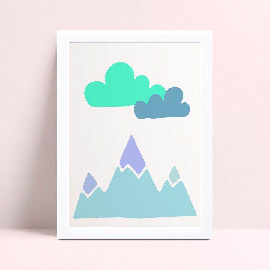 Quadro Quadro Infantil Menino montanhas nuvens verde & azul