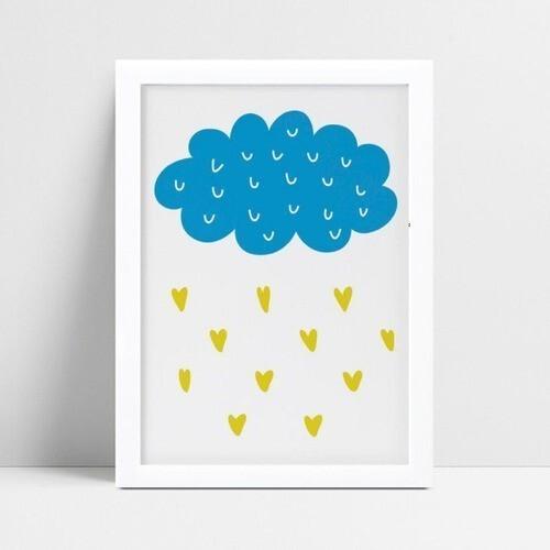 Quadro Quadro Infantil Menino nuvem azul gotas de coração