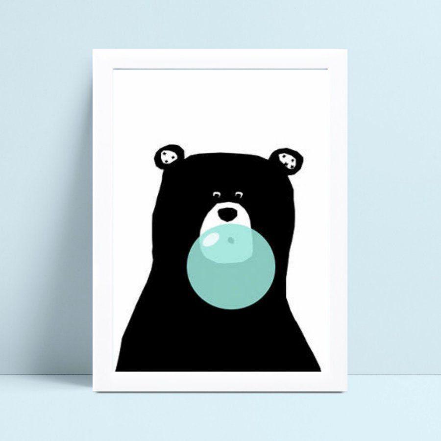 Quadro Quadro Infantil Menino urso preto