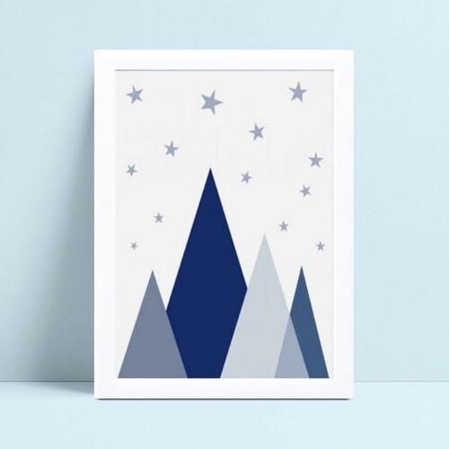 quadro quadro infantil montanhas geométricas azul