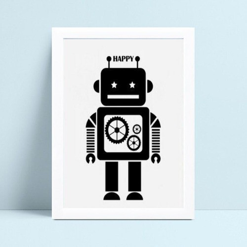 quadro quadro infantil robô preto