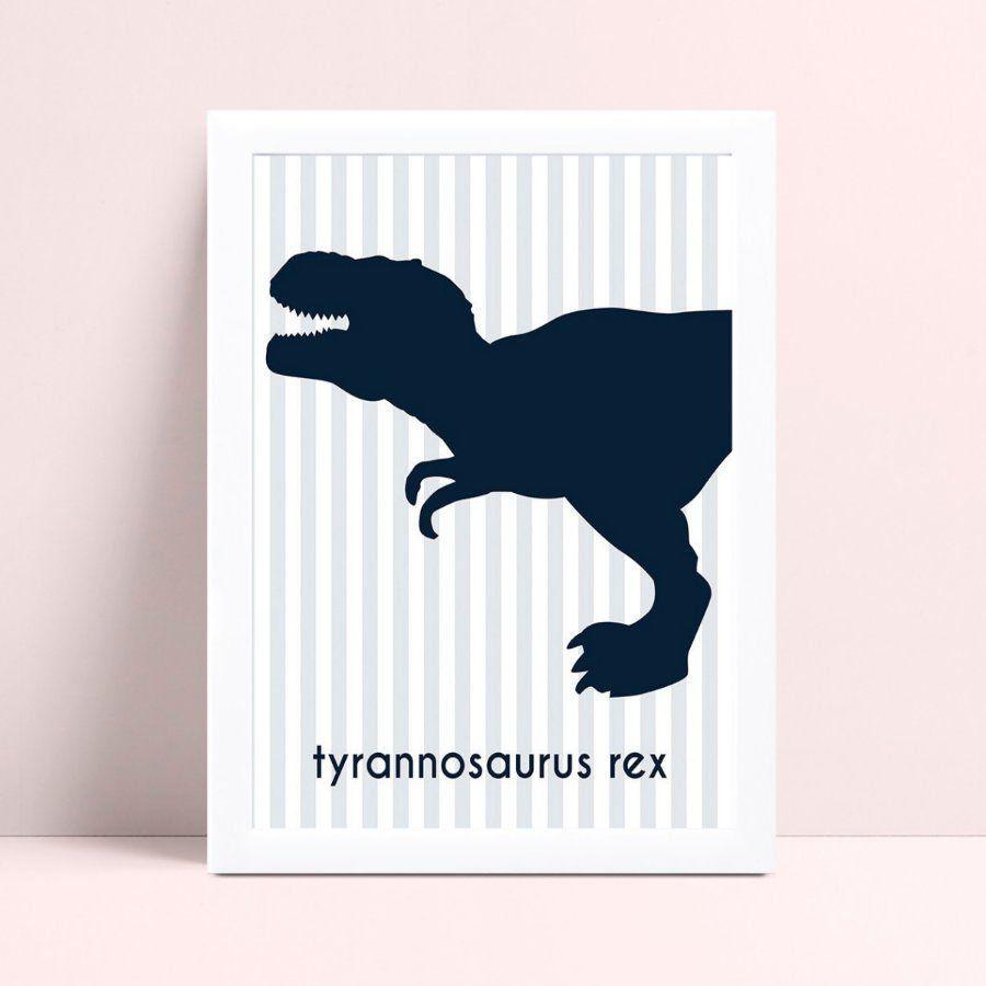 Quadro Quadro Infantil silhueta azul escuro dinossauro