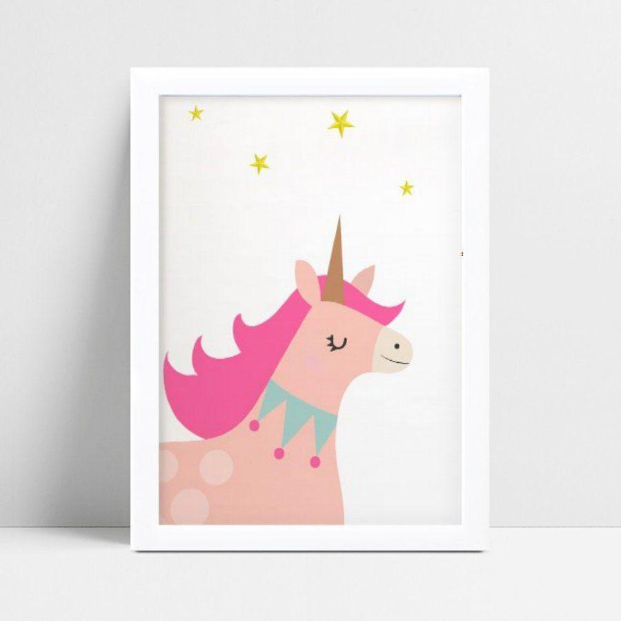 quadro quadro infantil unicórnio rosa