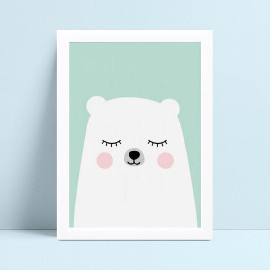 Quadro Quadro Infantil urso branco e azul