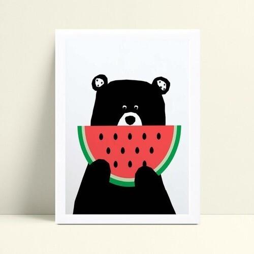 quadro quadro infantil urso comendo melancia