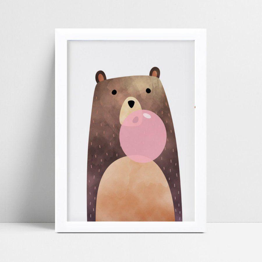 quadro quadro infantil urso marrom bola chiclete rosa