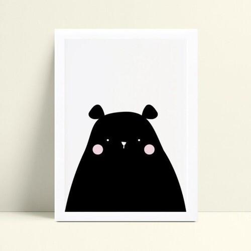 quadro quadro infantil urso preto