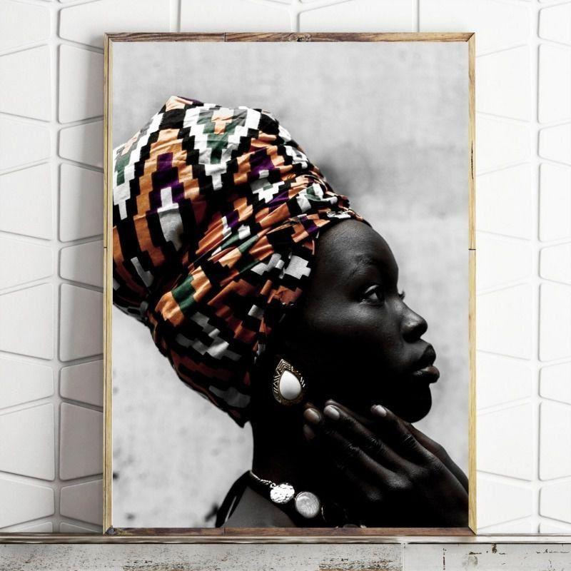 Quadro sala quarto Cultural África Monocromático
