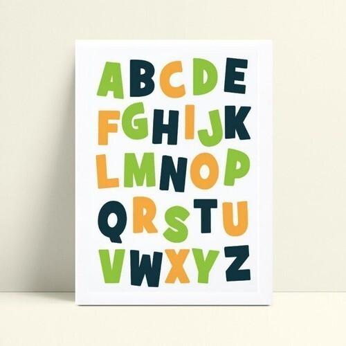 Quadros Decoraçãos Em Mdf abc alfabeto colorido