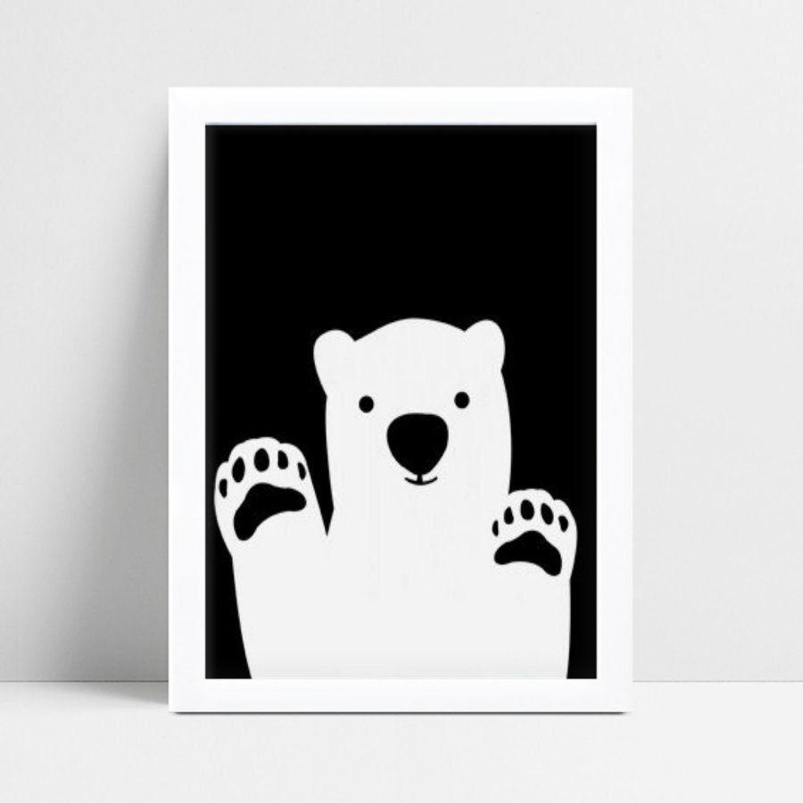 Quadros Decoraçãos Em Mdf animal urso p&b