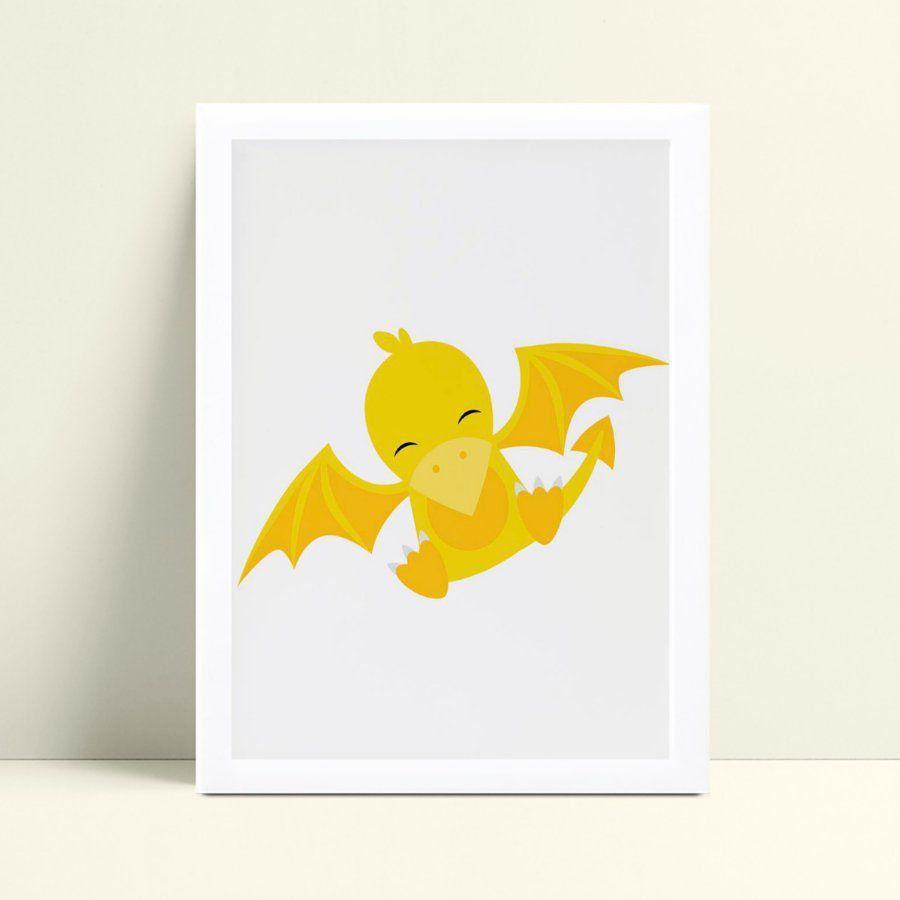Quadros Decoraçãos Em Mdf ave dinossauro amarelo