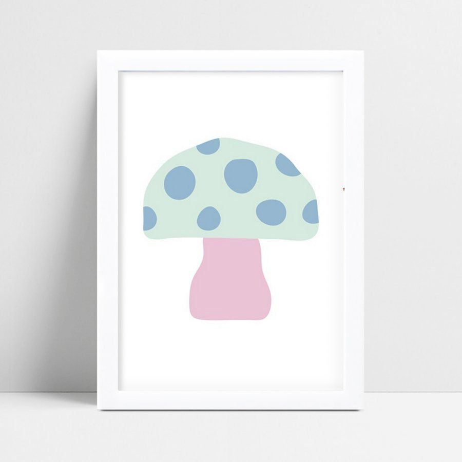 Quadros Decoraçãos Em Mdf cogumelo rosa & azul