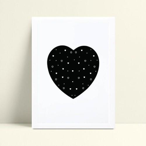 Quadros Decoraçãos Em Mdf coração preto grande