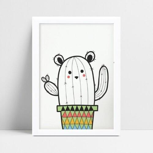 Quadros Decoraçãos Em Mdf desenho cacto urso