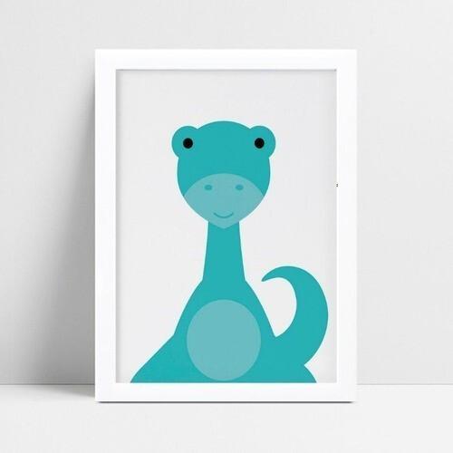 Quadros Decoraçãos Em Mdf desenho dinossauro azul