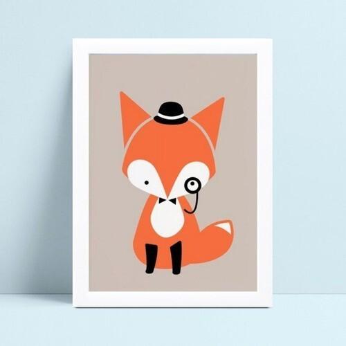 Quadros Decoraçãos Em Mdf desenho raposa de chapéu