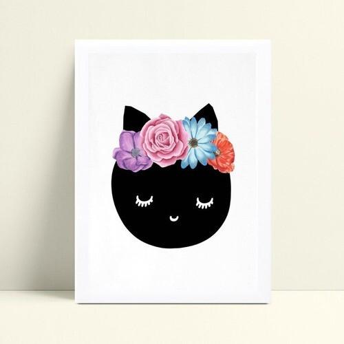 Quadros Decoraçãos Em Mdf gata preta arco floral