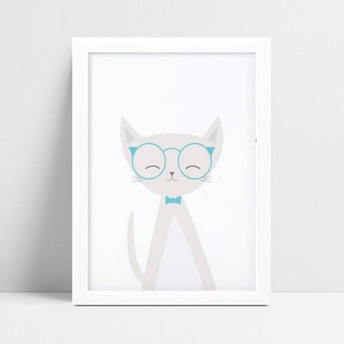 Quadros Decoraçãos Em Mdf gato cinza de óculos azul