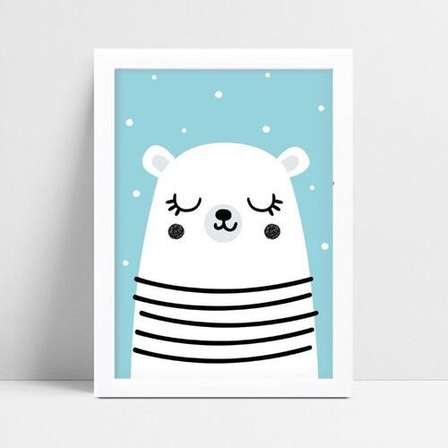 Quadros Decoraçãos Em Mdf infantil bebê urso branco