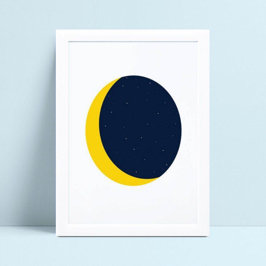 Quadros Decoraçãos Em Mdf lua meia lua eclipse