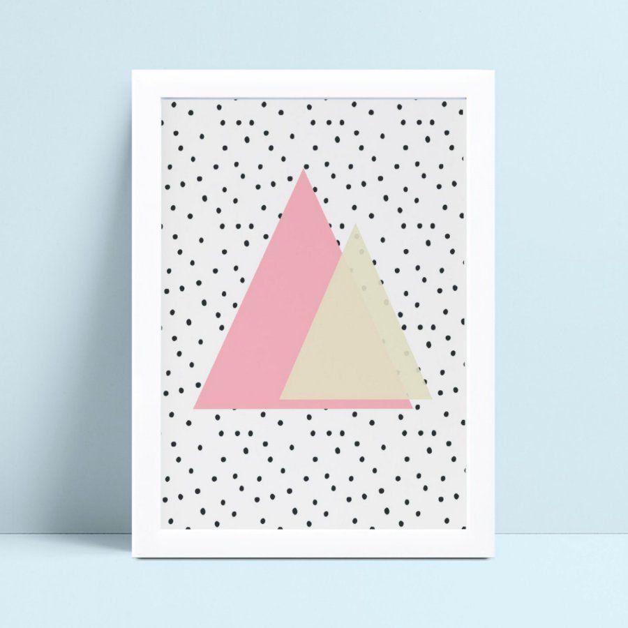 Quadros Decoraçãos Em Mdf triângulos rosa e branco