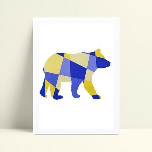 Quadros Decoraçãos Em Mdf urso geométrico colorido