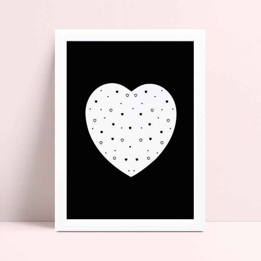 Quadros Quadros Decorativos coração grande corações pequenos