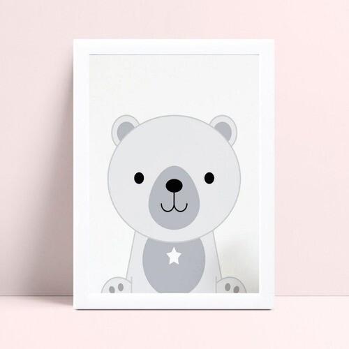Quadros Quadros Decorativos Infantil animal urso cinza