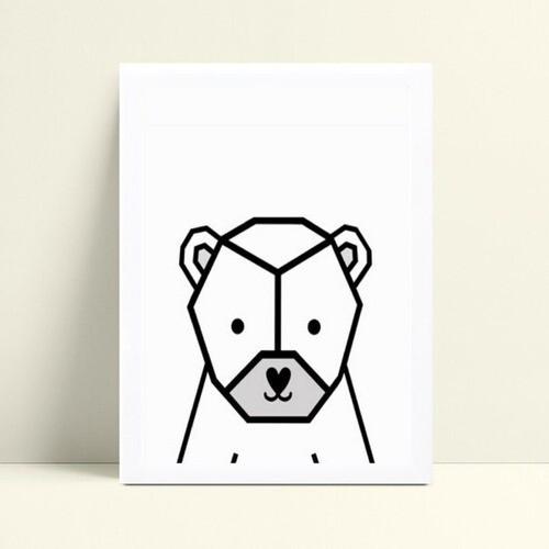 Quadros Quadros Decorativos Infantil animal urso geométrico