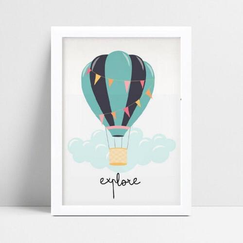 Quadros Quadros Decorativos Infantil balão nuvem azul