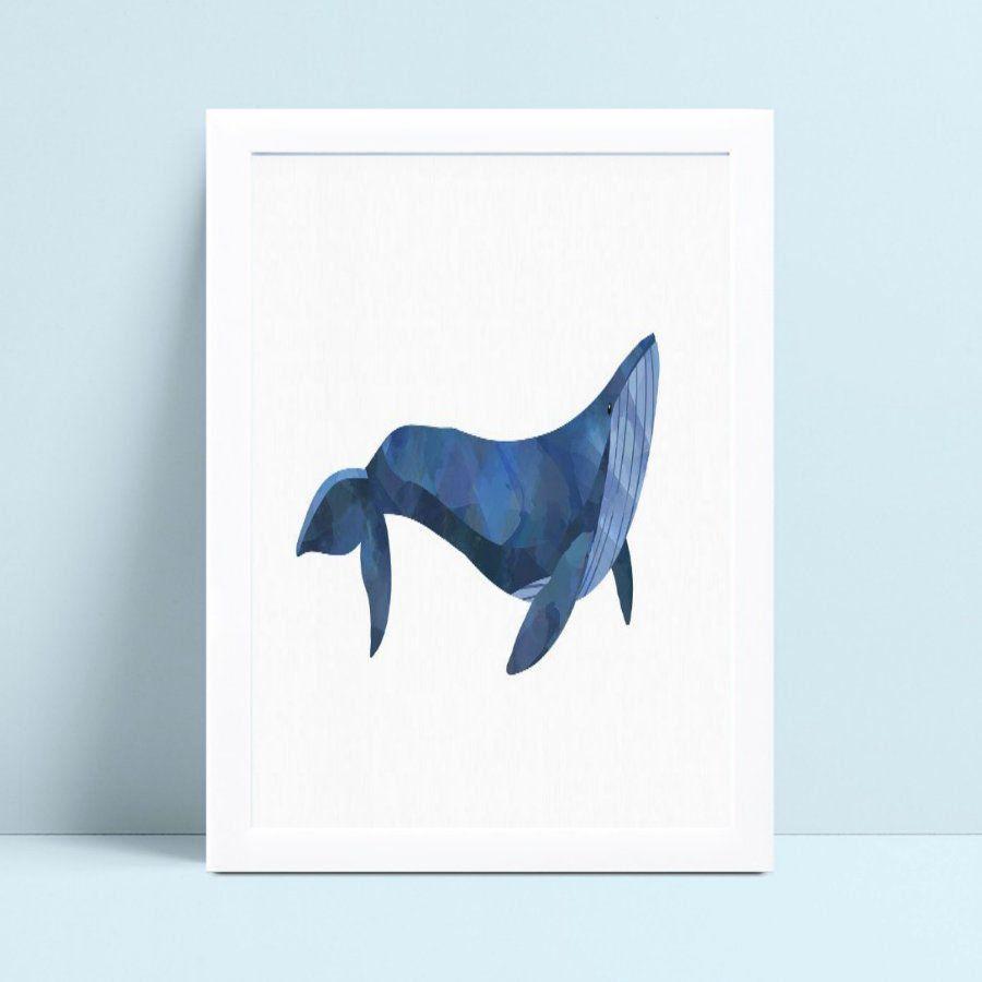 Quadros Quadros Decorativos Infantil baleia azul aquarela