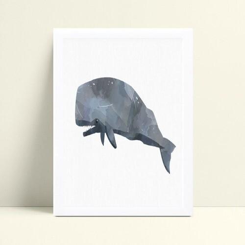 Quadros Quadros Decorativos Infantil baleia cinza aquarela
