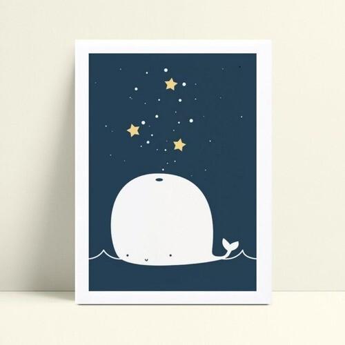 Quadros Quadros Decorativos Infantil baleia estrelas