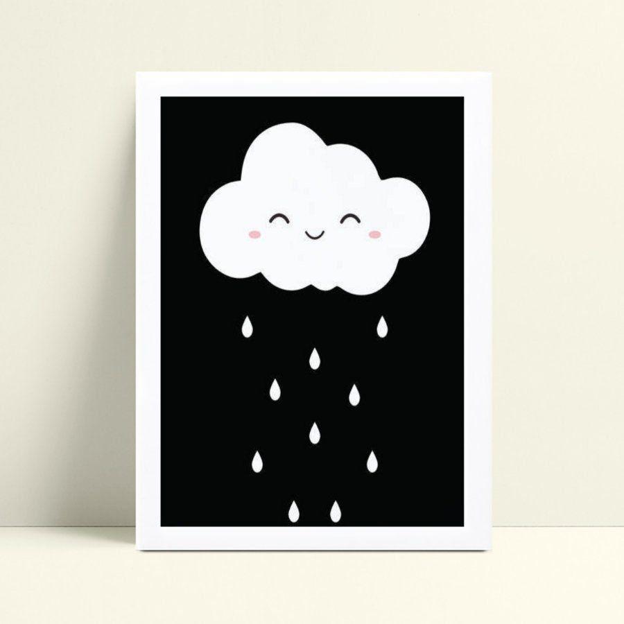 Quadros Quadros Decorativos Infantil chuva nuvem p&b
