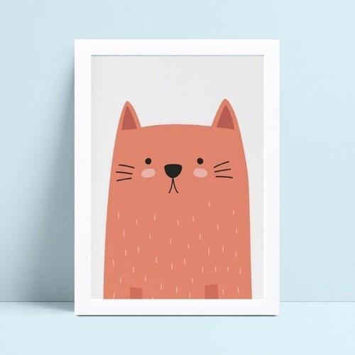 Quadros Quadros Decorativos Infantil desenho gato laranja