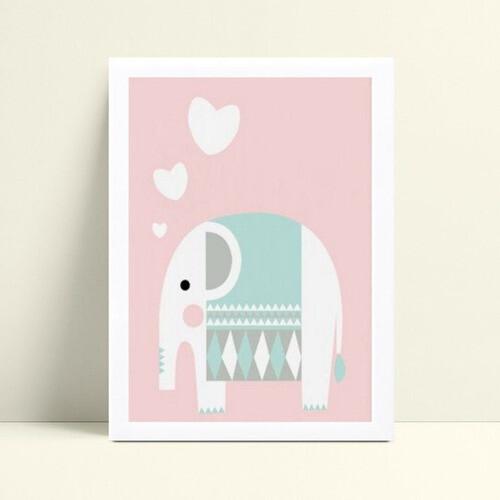 Quadros Quadros Decorativos Infantil elefante branco e rosa