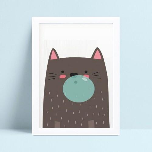 Quadros Quadros Decorativos Infantil gato bola de chiclete