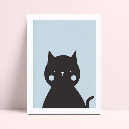 Quadros Quadros Decorativos Infantil gato preto e azul