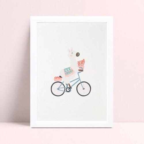 Quadros Quadros Decorativos Infantil lhama na bicicleta