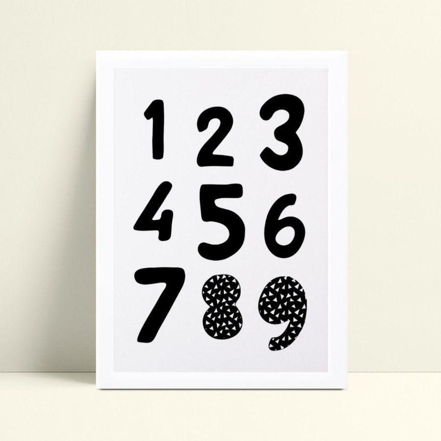 Quadros Quadros Decorativos Infantil números p&b