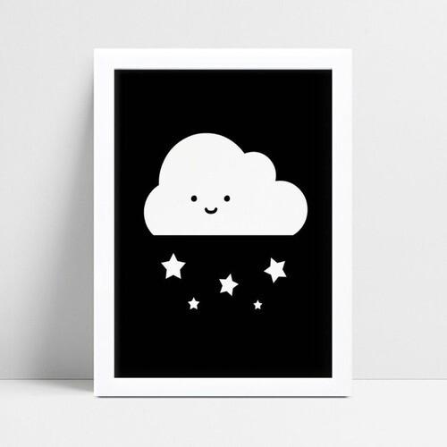Quadros Quadros Decorativos Infantil nuvem estrela p&b